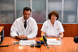 Pr. Patrick Baque (L) and Pr. Carole Ichai hold a press conference following the shooting of Monegasque heiress Helene Pastor, at St. Roch Hospital in Nice, southern France on May 7, 2014. The sister of the recently deceased Monegasque entrepeneur Michel Pastor has been shot and injured in an ambush outside L'Archet 1 hospital in Nice. Her chauffeur was also injured in the shooting which was carried out by two unknown attackers on her Monaco-registered Lancia Voyager. The two injured were taken to St. Roch hospital and were both operated on during the night. Photo by Patrice Masante/ABACAPRESS.COM  | 446316_007 Nice France