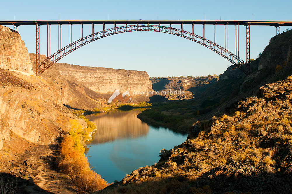 Autumn view from Blue Lakes Country club's 4th hole, over the Snake River and Perrine Bridge, Twin Falls, Idaho.