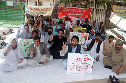 April 18, 2018 - Pakistan - QUETTA, PAKISTAN, APR 17: Members of All Balochistan NTS Youth Action Committee .are holding protest demonstration for acceptance their demands, at Quetta press club on Tuesday, .April 17, 2018. (Credit Image: © PPI via ZUMA Wire)