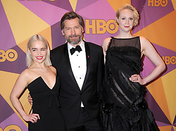 07 January 2018 - Beverly Hills, California - Emilia Clarke, Nikolaj Coster-Waldau, Gwendoline Christie. 2018 HBO Golden Globes After Party held at The Beverly Hilton Hotel in Beverly Hills. Photo Credit: Birdie Thompson/AdMedia
