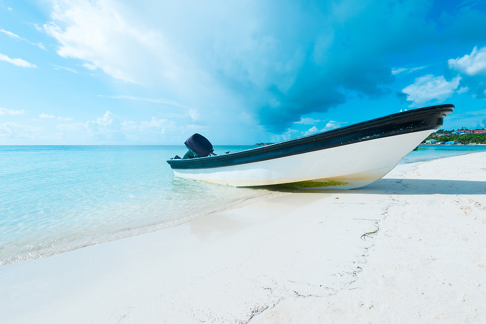 Boat on the beach in San Andres Island at the Caribbean, Colombia, South America