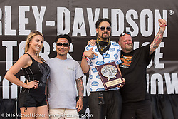 Yuichi Yoshizawa and Yoshikazu Ueda of Custom Works Zon in Japan receiving awards from Onno from 100% Biker Magazine for their custom Street 750 at the Harley-Davidson Editors Choice Custom Bike Show during the annual Sturgis Black Hills Motorcycle Rally.  SD, USA.  August 9, 2016.  Photography ©2016 Michael Lichter.