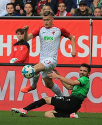 20171021, 1.BL FCA vs Hannover 96, WWK Arena Augsburg, Fussball, Sport, im Bild:..Alfred Finnbogason (FC Augsburg) vs Julian Korb (Hannover96)...*Copyright by:  Philippe Ruiz..Postbank Muenchen.IBAN: DE91 7001 0080 0622 5428 08..Oberbrunner Strasse 2.81475 MŸnchen, .Tel: 089 745 82 22, .Mobil: 0177 29 39 408..( MAIL:  philippe_ruiz@gmx.de ) ..Homepage: www.sportpressefoto-ruiz.de. (Credit Image: © Philippe Ruiz/Xinhua via ZUMA Wire)