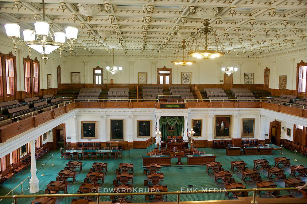 Senate Chamber in Texas Capitol Building. Austin.
