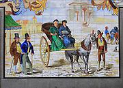 Historic ceramic tiles picture on wall, Calle Cava Baja, La Latina, Madrid city centre, Spain