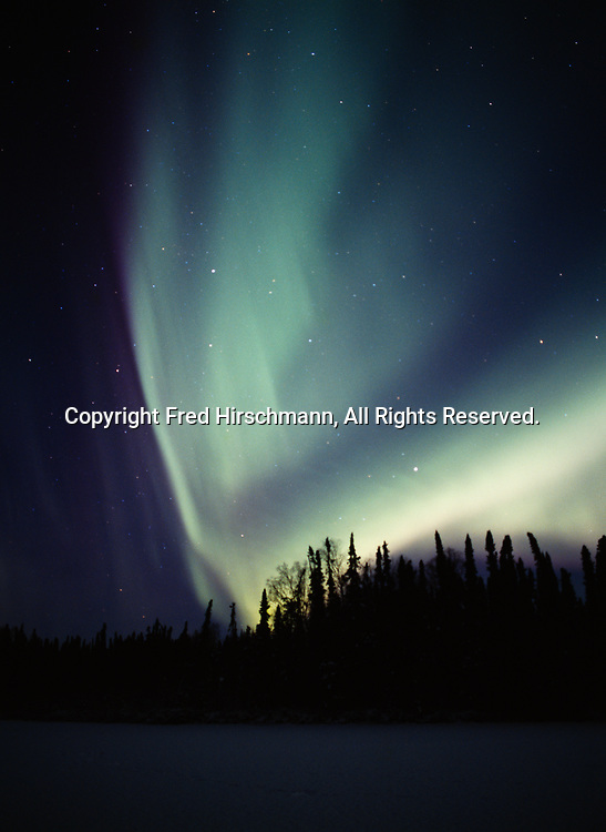 Green aurora above East Papoose Lake during night of December 14, 2006, Lower Susitna Valley, Alaska.