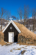 Quaint turf church built 1789 at Nupsstaour in South Iceland