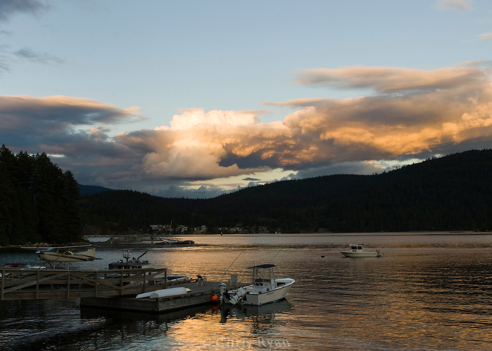 Colorful clouds at sunset on Indian Arm, British Columbia, Canada