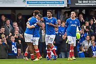 Portsmouth Players Celebrate  after Portsmouth Forward, Jamal Lowe (18) scores to make it 3-1 during the EFL Sky Bet League 1 match between Portsmouth and Fleetwood Town at Fratton Park, Portsmouth, England on 16 September 2017. Photo by Adam Rivers.