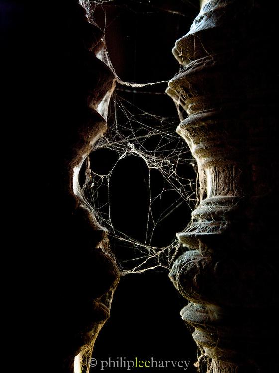 Thick cobwebs strung between two pillars at Ta Prohm temple of Angkor, Siem Reap, Cambodia