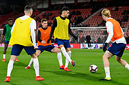 Doninic Solanke of England U21's warming up before the U21 International match between England and Germany at the Vitality Stadium, Bournemouth, England on 26 March 2019.