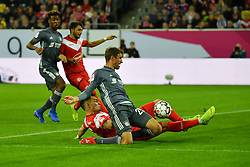 DUESSELDORF, Jan. 13, 2019  Kaan Ayhan (L, front)of Duesseldorf vies with Thomas Mueller (R, front) of Munich during the Telecom cup semifinals between Fortuna Duesseldorf and FC Bayern Munich in Duesseldorf, Germany, Jan. 13, 2019. Bayern Munich won 8-7 in penalty shootout. (Credit Image: © Ulrich Hufnagel/Xinhua via ZUMA Wire)