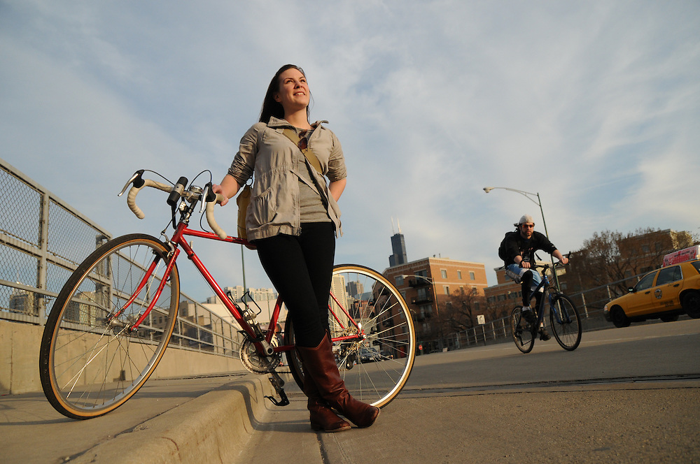 Biker Dana Hammett was once too intimidated to commute from her N. Michigan Avenue office to her Ukranian Village home, citing heavy traffic to manage on the way. She now counts herself among the commuter biking crowd,  comfortable weaving among buses and cabs. She even finds that a bike ride home can be faster than a car or public transportation at times.