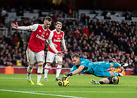 Football - 2019 / 2020 Premier League - Arsenal vs. Wolverhampton Wanderers<br /> <br /> Bernd Leno (Arsenal FC) pounces onto the loose ball to prevent a follow up at The Emirates Stadium.<br /> <br /> COLORSPORT/DANIEL BEARHAM