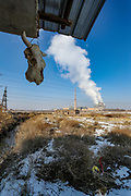 A scull of animal is seen hanging on the roof of a small outpost barrack nearby the cooling towers of Metsamor nuclear power station in Armenia on Friday, Jan 22, 2021. It is one of the last old operating Soviet reactors built without containment vessels, its location in a seismic zone has drawn renewed attention since Japan's earthquake-and-tsunami-triggered crisis. Nuclear Engineering International reported on January 18 that Armenia plans to extend the service life of its five-decade-old nuclear power plant in Metsamor after 2026 and has not abandoned plans to build a new plant. (Photo/ Vudi Xhymshiti)
