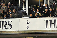 Cardiff City owner Vincent Tan (above logo) attending the match Barclays Premier League , Tottenham Hotspur v Cardiff city at White Hart Lane in London, England on Sunday 2nd March 2014.<br /> pic by John Fletcher, Andrew Orchard sports photography.
