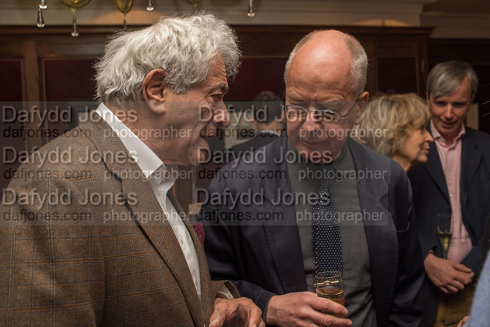 PETER MEYER;  ANDRZEJ KLIMOWSKI, David Campbell Publisher of Everyman's Library and Champagen Bollinger celebrate the completion of the Everyman Wodehouse in 99 volumes and the 2015 Bollinger Everyman Wodehouse prize shortlist. The Archive Room, The Goring Hotel. London. 20 April 2015.