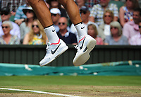 Tennis - 2017 Wimbledon Championships - Week Two, Sunday [Day Thirteen]<br /> <br /> Men Doubles Final match<br /> <br /> Marin Cilic (CRO) vs Rodger Federer (SUI)<br /> <br /> Rodger Federer adidas Shoes on  Centre court <br /> <br /> COLORSPORT/ANDREW COWIE