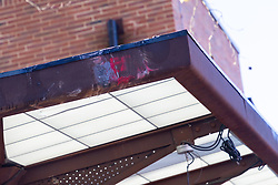 Red paint is smeared across the steel structure of the shelter following Sunday's bus crash in which 19 people were injured including a teenage girl who is in critical condition. The bus driver was arrested on suspicion of drug driving. Croydon, South London November 12 2018.