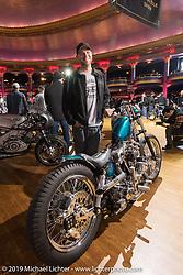 Majik Mike Rabideau with his custom 1981 Harley-Davidson split-rocker jockey shift Shovelhead at the Mama Tried Show. Milwaukee, WI. USA. Sunday February 25, 2018. Photography ©2018 Michael Lichter.