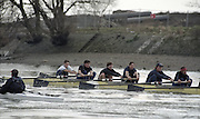 London. England, OUBC. Blue Boat. Oxford University BC, Pre Boat Race Fixture, Oxford University vs Old Blue's eight. River Thames, Putney.    Crew: J R W Kawaja, G A Rosengren, B Mavra, L S T Reed,  J B McLanahan, H S Corroon ,  D R H Clegg, J I Thronsden and Cox A C Chapman.<br /> <br /> [Mandatory Credit;Peter SPURRIER/Intersport Images] 1990's Varsity Pre race Fixture. Oxford University BC vs Old Blues Eight.