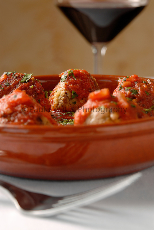 Italian Meatballs and red wine for appetizer or dinner