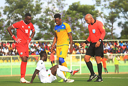 Guinea's Naby Keita sits down as he waits for medical assistance during the second leg match against Rwanda at Kigali Stadium on 16 October 2018 (Sam Ngendahimana)