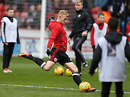 Mark Duffy of Sheffield Utd warms up during the English League One match at Bramall Lane Stadium, Sheffield. Picture date: December 31st, 2016. Pic Simon Bellis/Sportimage