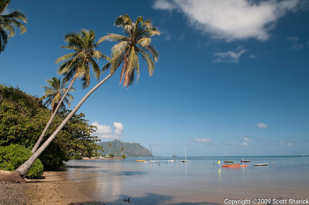 A view of boats on Kaneohe Bay on the windward side of Oahu in Hawaii.