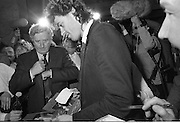 "Bob Geldof Receives F.A.O.Medal..1986..16.10.1986..10.16.1986..16th October 1986..The highlight of Gorta's 21st anniversary World Food Day was the presentation of an F.A.O.(Food and Agriculture Organisation of the United Nations) to Bob Geldof. The medal was presented by An Taoiseach,Dr Garret Fitzgerald. The medal was in recognition of Bob's efforts and contribution towards famine relief in the Third World. The ceremony took place in The Berkeley Court Hotel in Dublin...In the midst of the media scrum, Bob is pictured meeting An Taoiseach,Dr Garret Fitzgerald. Bob is signing copies if his book, ""Is That It""."