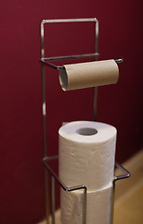 An empty toilet paper roll on metal holder. Picture date: Wednesday April 1, 2020.
