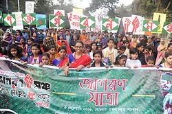 February 5, 2018 - Dhaka, Bangladesh - Bangladeshi Secular Activist 'Ganajagoron Mancha' held a Rally to celebrate five years anniversary at Shahbag in Dhaka, Bangladesh. On February 5, 2018. (Credit Image: © Str/NurPhoto via ZUMA Press)