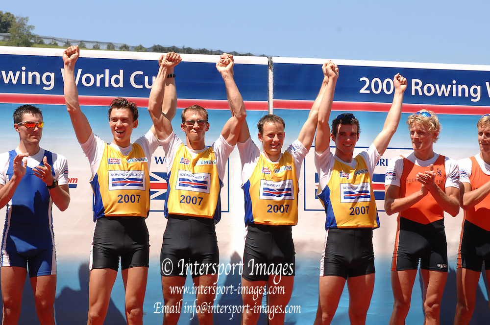 Lucerne, SWITZERLAND,  A Finals, GBR LM4-,right to left,  Richard Chambers, James LINDSEY-FYNN, Paul MATTICK and james CLARKE Gold medallist,  at the 2007 FISA World Cup, Lucerne, on the Rotsee Lake, 15/07/2007  [Mandatory Credit Peter Spurrier/ Intersport Images] , Rowing Course, Lake Rottsee, Lucerne, SWITZERLAND.