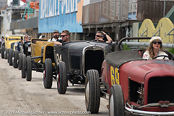 Bikes and cars head onto the beach for day two of racing at TROG (The Race of Gentlemen) in Wildwood, NJ. USA. Sunday June 10, 2018. Photography ©2018 Michael Lichter.