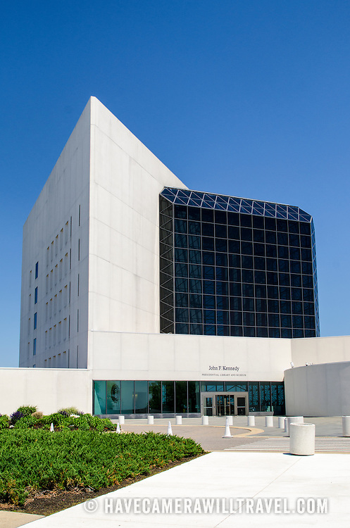 Southern side of the John F. Kennedy Presidential Library and Museum on the waterfront in Dorchester in Boston, Massachusetts. Dedicated to the 35th president of the United States, the JFK Library is the official National Archves and Records Administration repository of the presidential records of John F. Kennedy.