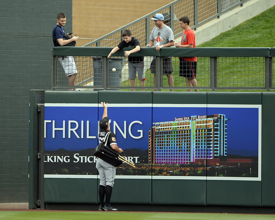 SCOTTSDALE, ARIZONA - MARCH 05:  Adam Engel #63 of the Chicago White Sox signs autographs prior to the spring training game against the Arizona Diamondbacks on March 5, 2017 at Salt River Fields at Talking Stick in Scottsdale, Arizona.  (Photo by Ron Vesely)   Subject:  Adam Engel
