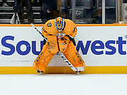 Nashville Predators goaltender Juuse Saros (74) gets psyched up before an NHL game between the Calgary Flames and Nashville Predators at Bridgestone Arena in Nashville, TN