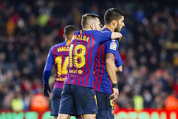 January 20, 2019 - Barcelona, Spain - Luis Suarez (9) of FC Barcelona celebrates scoring the goal with Jordi Alba (18) of FC Barcelona during the match FC Barcelona against CD Leganes, for the round 20 of the Liga Santander, played at Camp Nou  on 20th January 2019 in Barcelona, Spain. (Credit: Mikel Trigueros/Urbanandsport / NurPhoto) (Credit Image: © Mikel Trigueros/NurPhoto via ZUMA Press)