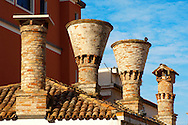 Traditional Venecian Chimneys -  Riva Vena canal - Chioggia - Venice - Italy .<br /> <br /> Visit our ITALY HISTORIC PLACES PHOTO COLLECTION for more   photos of Italy to download or buy as prints https://funkystock.photoshelter.com/gallery-collection/2b-Pictures-Images-of-Italy-Photos-of-Italian-Historic-Landmark-Sites/C0000qxA2zGFjd_k