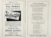 All Ireland Senior Hurling Championship Final,.Brochures,.03.09.1950, 09.03.1950, 3rd September 1950, .Tipperary 1-9, Kilkenny 1-8, .Minor Tipperary v Kilkenny,.Senior Tipperary v Kilkenny, .Croke Park, ..Advertisements, Certistyle Irish Gown, ..Songs, Ireland's Hurling Men, ..Poems, I Love the Hills of Ireland,