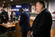 26 MARCH 2021 - URBANDALE, IOWA: MIKE POMPEO, former Secretary of State during the Trump Administration, prays before speaking at the Machine Shed Restaurant. Pompeo, who served as the Director of the CIA and Secretary of State in the Trump Administration, spoke to about 200 people during the Westside Conservative Club meeting at the Machine Shed Restaurant in Urbandale, IA, Friday morning. Pompeo, who is often mentioned as a possible Republican presidential candidate in 2024, did not talk about any plans to run for President, spending most of the time talking about what he thought were the foreign policy accomplishment of the Trump Administration and encouraging Republicans to tighten voting rules.    PHOTO BY JACK KURTZ