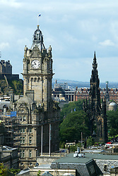The Balmoral Hotel and the Scott Monument seen from the top of Calton Hill in the picture from July 2004..Pic ©2010 Michael Schofield. All Rights Reserved.