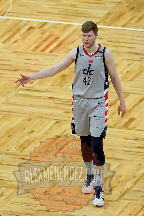 ORLANDO, FL - APRIL 07: Davis Bertans #42 of the Washington Wizards celebrates a goal against the Orlando Magic during the second half at Amway Center on April 7, 2021 in Orlando, Florida. NOTE TO USER: User expressly acknowledges and agrees that, by downloading and or using this photograph, User is consenting to the terms and conditions of the Getty Images License Agreement. (Photo by Alex Menendez/Getty Images)*** Local Caption *** Davis Bertans
