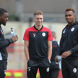 TELFORD COPYRIGHT MIKE SHERIDAN Andre Brown, Henry Cowans and Marcus Dinanga during the National League North fixture between Kettering Town and AFC Telford United at Latimer Park on Saturday, August 3, 2019<br /> <br /> Picture credit: Mike Sheridan<br /> <br /> MS201920-005