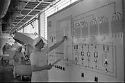 09/08/1962<br /> 08/09/1962<br /> 09 August 1961<br /> Bolands Bakery feature, interiors of Bolands factory, Grand Canal Street, Dublin. View of the control panel.