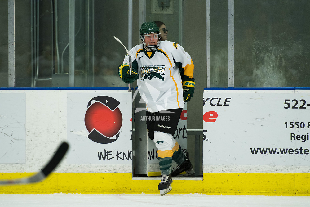 3rd year forward Jaycee Magwood (5) of the Regina Cougars in action during the Women's Hockey home game on October 13 at Co-operators arena. Credit: Arthur Ward/Arthur Images