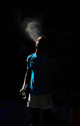 Manchester City's Kyle Walker blows water out of his mouth during the Community Shield match at Wembley Stadium, London.