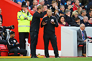 Liverpool Manager Jurgen Klopp has words with the forth official. Premier League match, Liverpool v Burnley at the Anfield stadium in Liverpool, Merseyside on Saturday 16th September 2017.<br /> pic by Chris Stading, Andrew Orchard sports photography.