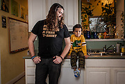 BALTIMORE, MD -- 12/22/14 -- Benjamin Jancewicz, 31, a designer from Baltimore, with his son, Arion Jancewicz, 6, talks about the complexity of being a biracial family.…by André Chung #_AC23545