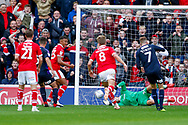 Barnsley midfielder Cameron McGeehan (8) scores a goal to make the score 2-0 during the EFL Sky Bet League 1 match between Barnsley and Luton Town at Oakwell, Barnsley, England on 13 October 2018.